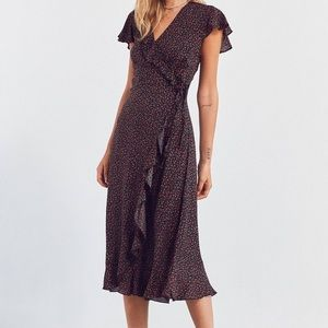 Urban Outfitters Ruffle Midi Floral Wrap Dress S